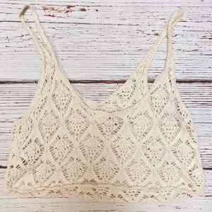 Boho Knit / Crochet Macrame Cream Crop Top | Small